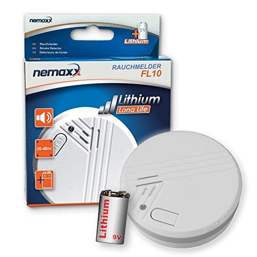 1x Nemaxx FL10 Rauchmelder - hochwertiger Rauchwarnmelder mit langlebiger 10 Jahre Lithium-Batterie...