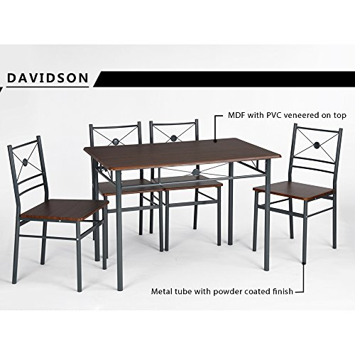 Innovareds Stylish Dining Table 4 Folding Chairs Set 5pcs Vintage Retro Kitchen Dining Room Table Chairs Set Dark Brown Buy Online In Isle Of Man At Isleofman Desertcart Com Productid 55553364