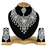Finekraft Crystals Pearls Zircon Silver Plated Necklace Jewelry Set For Women
