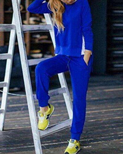 Donna Calda Autunno Inverno E Tasche Sweatshirt+Pantaloni Sportiva Pullover Ragazze Jogging Blu