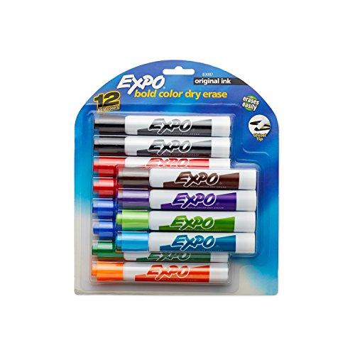 expo-original-marqueurs-effacables-a-sec-pointe-biseautee-4-noir-12-pack-coloris-assortis