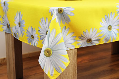 Wonderful Charming Daisies–Quality Printed and High-Quality Series Hard Back Case Margertiten–Flowers–Choose Table Cloths, Table Runners and Cushion Covers–Eye-catching/from the Kamaca Shop–Spring/Summer, Polyester, sunshine yellow, Tischdecke 130×170 cm