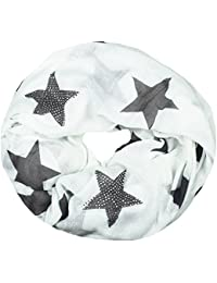 Mevina Schlauchschal Loop mit Sterne Muster und Strass Applikation Stern Druck Rundschal