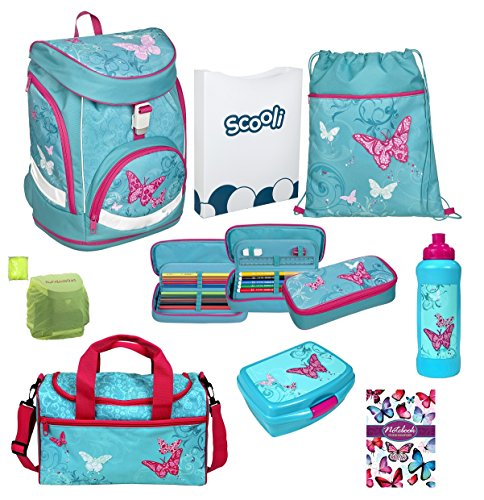 Familando Butterfly Mädchen Schulrucksack-Set 9 tlg. Twixter Up Sporttasche Dose Flasche Schulranzen Scooli türkis