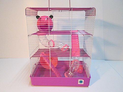 Penthouse grande, color rosa y morado Small Animal Cage Jaula de Hámster 50x 40x 27cm