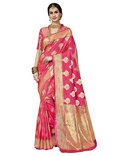 Saree Mall Women's Banarasi Silk Saree With Blouse Piece (Latest Design Tlela104_Pink)