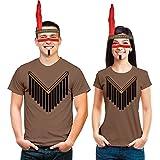 Cooles Indianer Partner Kostüm mit Kopfschmuck und Make Up für Damen und Herren Mann Kastanie Large/Frau Kastanie Small