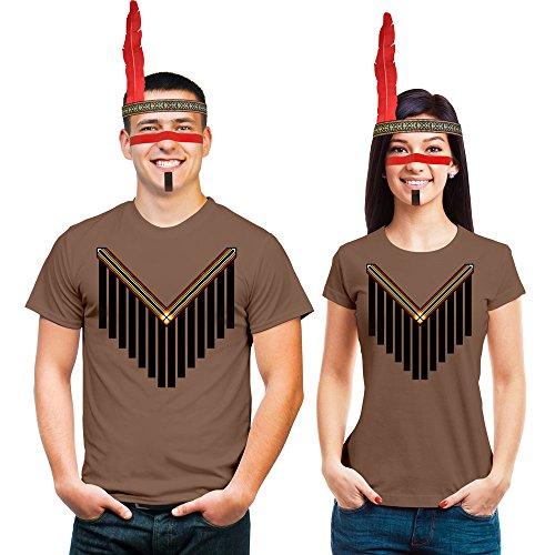 Frau Indianer Kostüm - Shirtgeil Cooles Indianer Partner Kostüm mit Kopfschmuck und Make Up Für Damen und Herren Mann Kastanie Large/Frau Kastanie Large