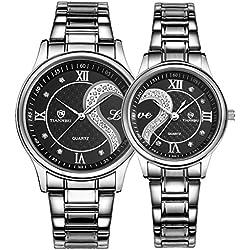 Ehepaar Armbanduhr 1 Paar / 2PC Armbanduhr Uhr Edelstahl Armband Unisex Design Quarz Gehäuse Wasserdicht, schwarz von iCreat