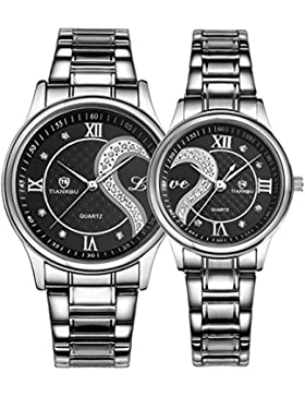 Ehepaar Armbanduhr 1 Paar / 2PC Armbanduhr Uhr Edelstahl Armband Unisex Design Quarz Gehäuse Wasserdicht, schwarz...