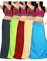 RAMAYA Women's Cotton Petticoat(PTC03_Multicolour_Free Size)-Pack of 5