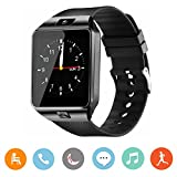 Smart Watch, CanMixs DZ09 Bluetooth 4.0 Mutifunctional Wristwatch with Camera Pedometer Anti-lost Tracker Stopwatch Message GSM Music Player Calendar and SIM Card Inserted,Sync with Iphone,Samsung,Motorola,LG,Huawei and Other Android System(Black)