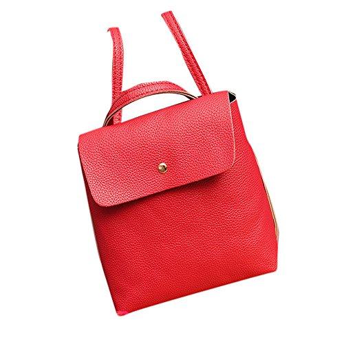 Longra Zaino signora Leather Satchel spalla Anguria rossa