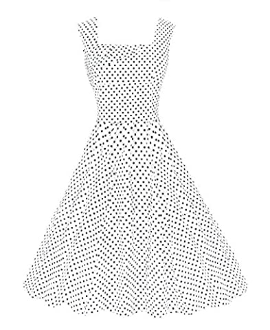 Kimring Women's 1950's Vintage Polka Dot Square Neck Sleeveless Party Cocktail Summer Wedding Guest Swing Dress White XXXXX-Large