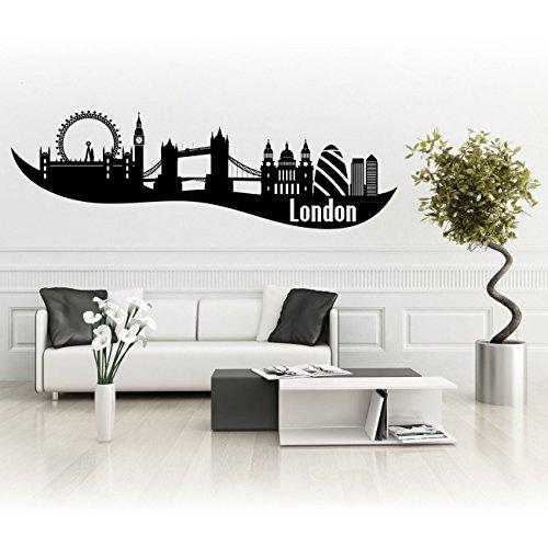 London Skyline mit Big Ben als Aufkleber für Wände oder Autos Silhouette Stadt England |SKI006