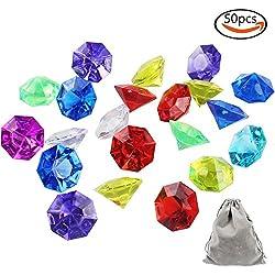 Whonline 50pcs Diamantes coloridos de acrílico, gemas redondas, embalaje a granel, actividades, bodas, embalaje al florero, artesanía, adornos para cumpleaños, con una bolsa de terciopelo grande