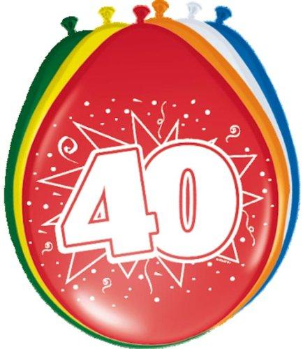 Folat 08240 40. Geburtstag Ballons 8 Stück, Mehrfarbig