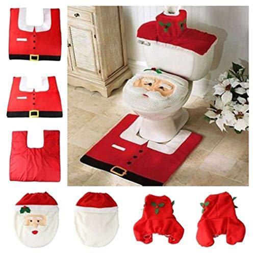 ODN 3tlg. Wc Sitzbezug Set Weihnachten Toilettensitzbezug Toiletten Abdeckung Teppich Wassertank Abdeckung Badematten Set zur Weihnachtsfeier, Rot