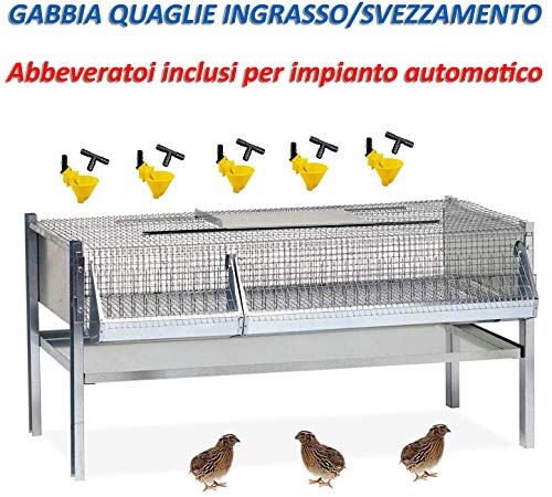 Contro Gabbia per quaglie ingrasso, Completa, per Circa 40/50 Capi. cm.100x50x50 h.