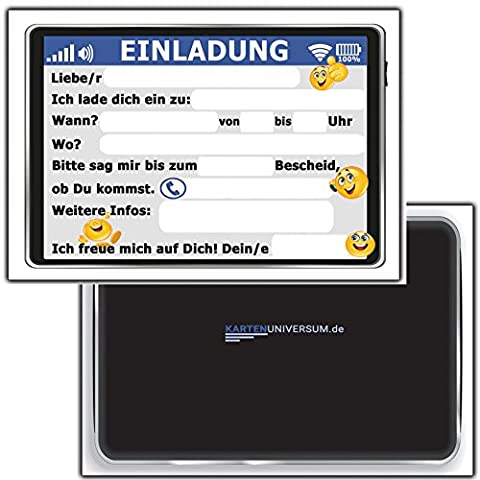 12-er Set Lustige Einladungskarten zum Kindergeburtstag Tablet Handy Smiley Party