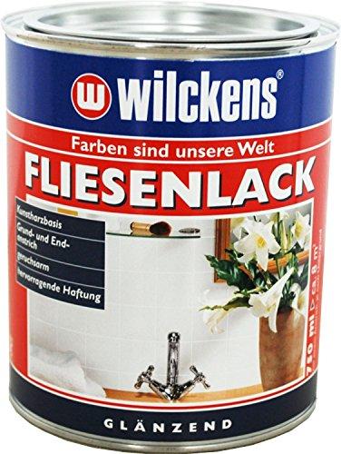 Fliesenlack seidenglänzend inkl. Pinsel zum Auftragen und 1 Paar Nitrilhandschuhe (weiss seidenglänzend 750 ml)