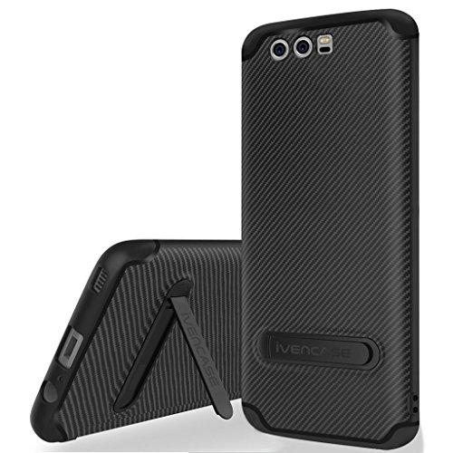 """Custodia Huawei P10 Cover Nero , ivencase Morbido TPU Metallo Stand [Design fibra di carbonio] Protettiva Black Silicone Cover per Huawei P10 5.1"""""""
