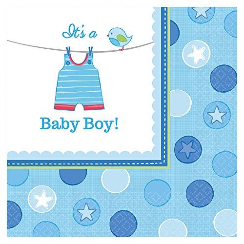 PARTY DISCOUNT Servietten Shower Baby Boy, 33x33 cm, 16 ()