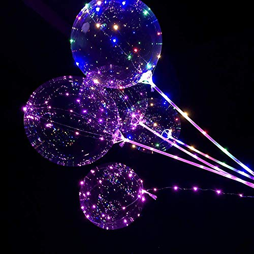 5 Stück LED Licht Ballons Transparent Party Ballons, 20 Zoll LED Lichter Bunte BoBo Luftballons, Perfekt für Valentinstag, Party, Jahrestag Feierlichkeiten, Hochzeit, Urlaub Dekoration