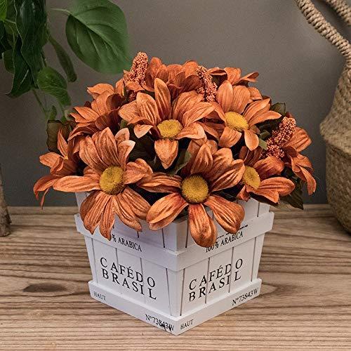 Jnseaol fiori artificiali con vaso incluso bagno da interno bouquet per esterno balcone crisantemo arancio della decorazione del davanzale della finestra del salone di nozze quadrato