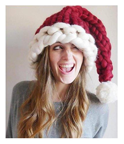 Paillettenbesetzte Weihnachtsmütze Hut Handgewebte Wolle Cap Nikolausmütze (Erwachsene)