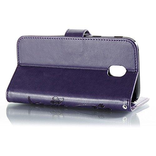 EKINHUI Case Cover Solid Color Faux Leder Bookstyle Brieftasche Stand Case mit geprägten Flower & Lanyard & Card Slots für Samsung Galaxy J3 2017 European Edition ( Color : Rose ) Purple
