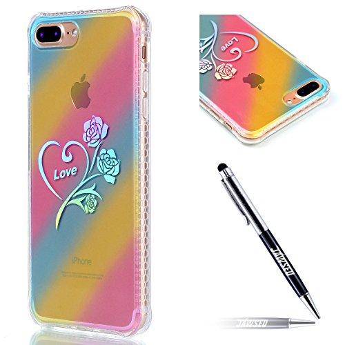 iPhone 7 Plus Custodia, iPhone 7 Plus 5.5 Cover, JAWSEU [Shock-Absorption][Anti Scratch] Protezione Bumper per iPhone 7 Plus Cristallo Trasparente Custodia Cover Case Caso Bella Luminoso Ultra Sottile Colorato Rosa