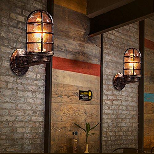 qyhome Vintage Rústico Espejo de pared Lámpara aplique de baño espejo iluminación