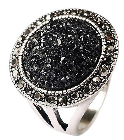 SaySure - Vintage Punk Jewelry Black Broken Stone crystal Rings (SIZE : 8)