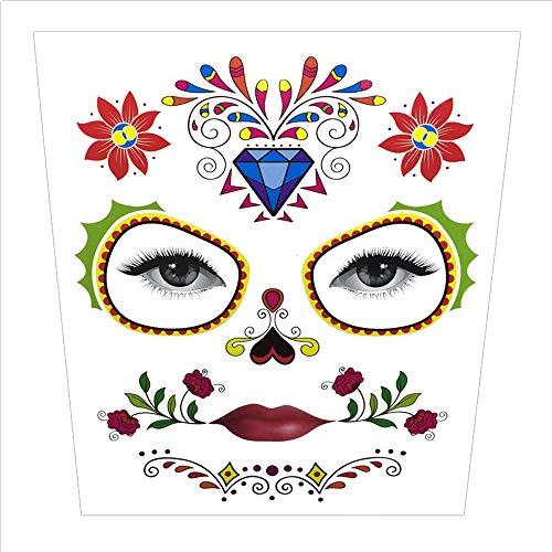 Wawer Halloween Tattoo Aufkleber temporäre Gesicht Kunst Wasserdichte Maske Sugar Schädel Tattoo Beauty Aufkleber (C)