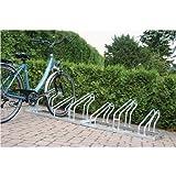 EUROKRAFT Fahrradständer, Bügel aus Stahlrohr, Radeinstellung einseitig - 2 Stellplätze - Bügelparker Einzelständer Radständer