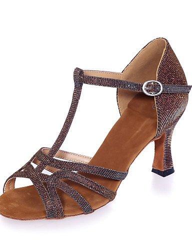 La mode moderne Non Sandales Chaussures de danse pour femmes personnalisables Glitter Paillettes mousseux mousseux Sandales Latin/Professionnel/HeelPractice évasée Intérieur Intérieur / Gold