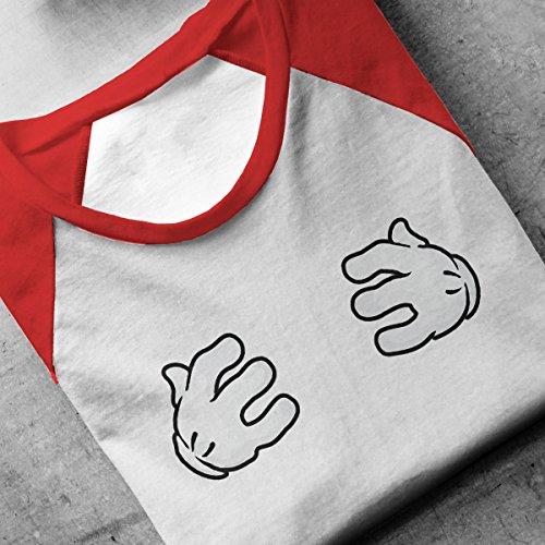 Disney Mickey Mouse Hands Funny Chest Grab Men's Baseball Long Sleeved T-Shirt White/Red