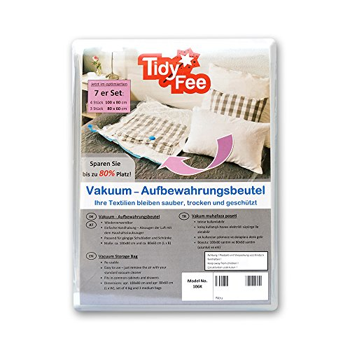 Tidy-Fee Vakuum Aufbewahrungsbeutel für Textilien 7er-Set (4 Stück 100 x 80 cm und 3 Stück 80 x 60 cm) (4 Vakuum Stück)