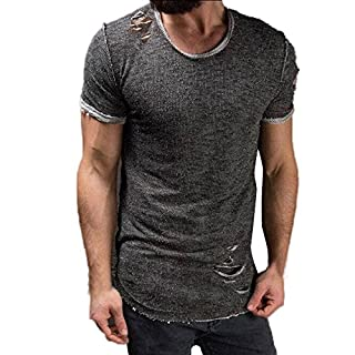 Anglewolf Men's Slim Fit O Neck Long Sleeve Muscle Tee T-Shirt Ripped Casual Tops Blouse Mens T-Shirts Polo Shirts Thermal Vest Underwear Extra Warm Winter Endurance Top Sleeves(Gray 2,S)