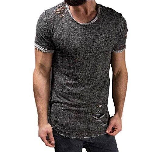 enk Sommer Männer Mode Lässig Im Freien Datum Loch Runde Kragen Tees Hemd Kurzarm T-Shirt Bluse Pullover Pulli(Grau, EU-48/CN-M) (Sexy Batman Outfits)