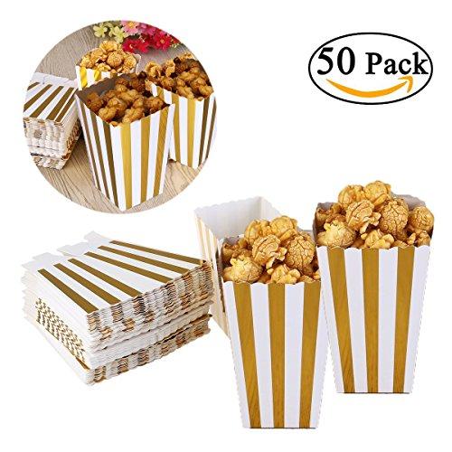 Dproptel Popcorn Boxes Party Candy Container Streifenmuster Dekoratives Geschirr Popcorn Kartons Papiertüten für Snacks, Süßigkeiten, Popcorn (gold) 50 Stücken (Kino-stil Popcorn Wanne)