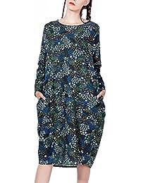 ELLAZHU Femme Midi Robe Cotton&Linen Bohémien Imprime Taille unique GY272