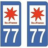 Paire Sticker immatriculation 77 - Seine et Marne