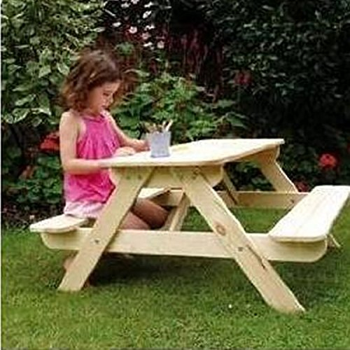 "Children's Picnic Table & Bench Set ""Panda"" in Natural Finish - Perfect for Indoor or Outdoor use"