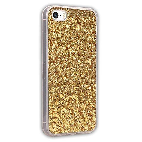 EKINHUI Case Cover Luxus-Schein-Bling-Kasten-Abdeckungs-Funkeln-glänzendes weiches Silikon TPU Stoßdämpfer-schlagfeste schützende rückseitige Abdeckung für iPhone 5 u. 5s u. SE ( Color : Rose ) Gold