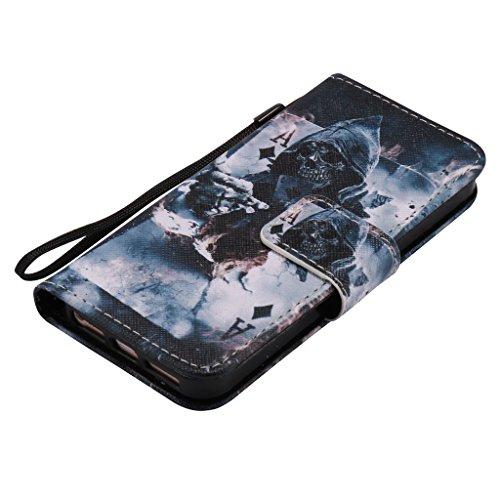 Custodia per iPhone 5, iPhone 5S, iPhone SE Custodia, con protezione per lo schermo in vetro temperato] antigraffio, fatcatparadise (TM) Custodia posteriore morbida in silicone, design colorato motivo Death magician