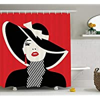 tgyew Girls Shower Curtain, French Style Icon in Shabby Chic Classical Vintage Hat and Striped Coat Design Print, Fabric Bathroom Decor Set with Hooks, 60W X 72L Inche, Red Black