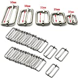20 fibbie in metallo regolabili, per realizzare cinturini di borse, zaini, bagagli 38 mm Silver