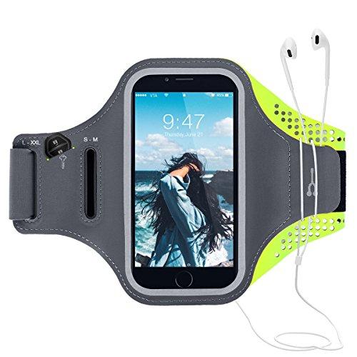 CE-Link Sport Armband iPhone,Android Sportarmband Hülle Handytasche Schweißfest Running Armtasche Reiten Handyhülle Mit Schlüsselhalter, Kabelfach, Kartenfach und Opfhörer Band für iPhone 6 Plus/6s Plus/7 Plus/8 Plus/iPhone X, Samsung Galaxy S7 Edge/S6 Edge Plus/S8/S8 Plus/J7/A7 2017/Note 8, Huawei P8 /P9 /P9 Lite /P10 Lite/P10 Plus /6X bis 6.0 Inch - Grün Armband Schlüssel-schlaufe